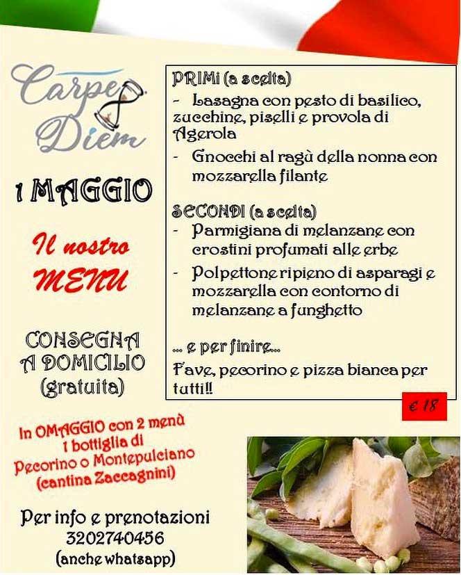 Carpe Diem menu 1 Maggio a Domicilio